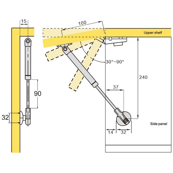 Tilt-up Pneumatic Support (109004)