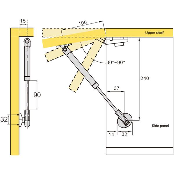 Tilt-up Pneumatic Support (109008)